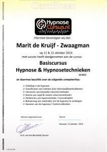 Certificaat Basiscursus Hypnose en Hypnosetechnieken