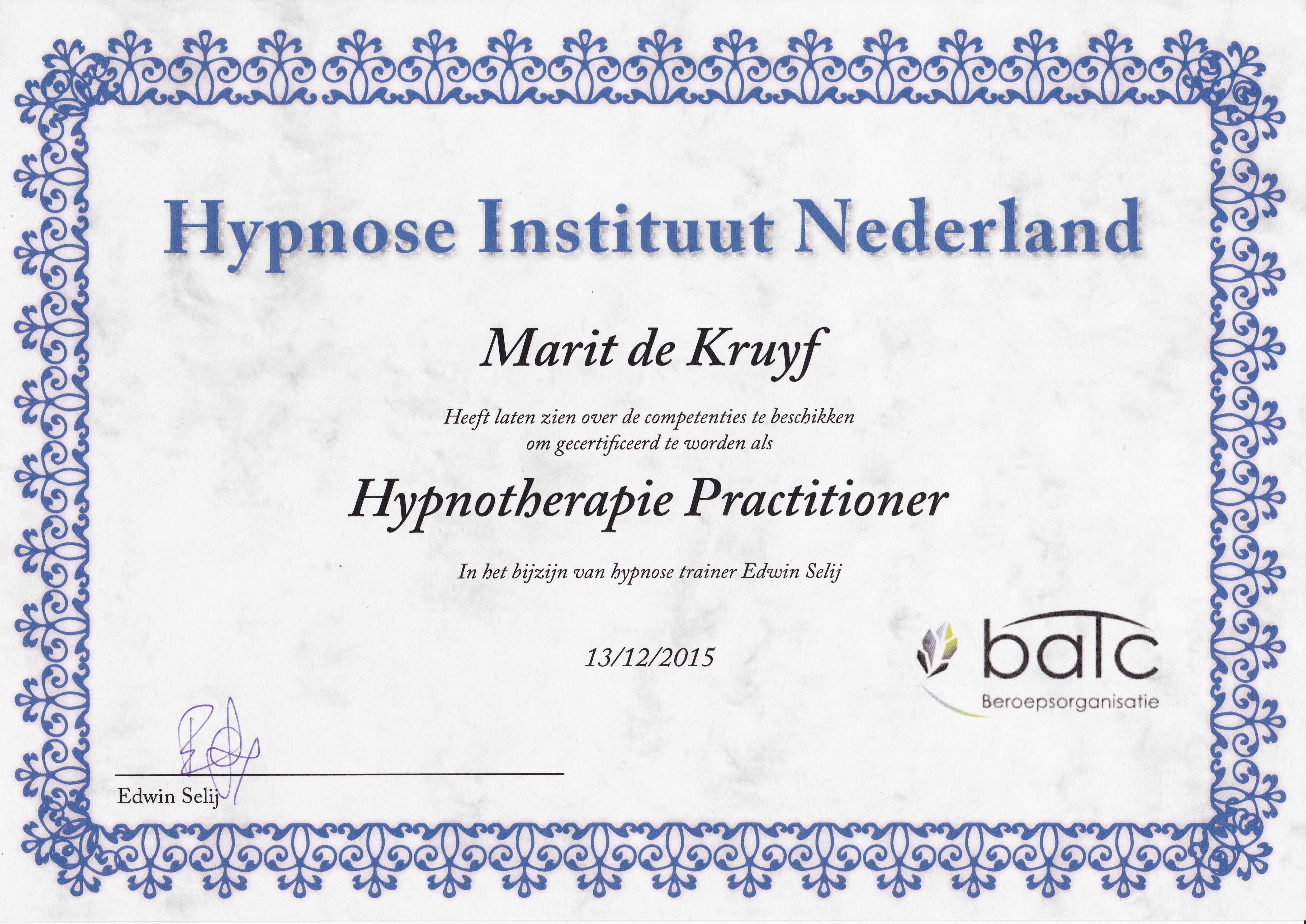 Diploma - Hypnotherapie Practitioner